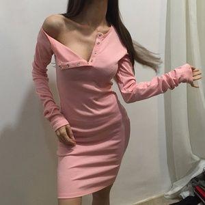Dresses & Skirts - Pink Twilled Satin Vestidos  Midi Dresses Bodycon